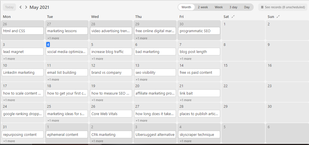 An essential tool bloggers should use is a content calendar.