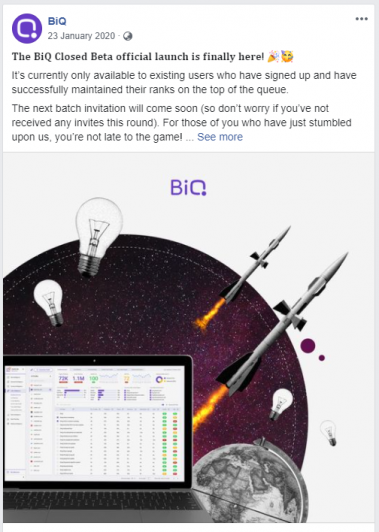 Your Facebook content can also include exclusive promotion such as BiQ's previous close beta invitation.
