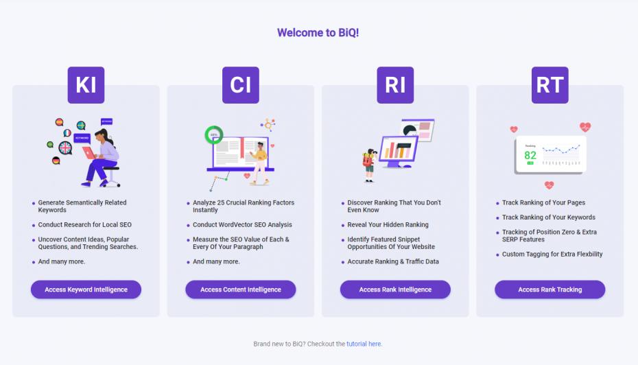 BiQ keyword research tool
