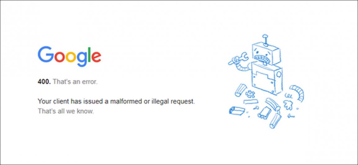 Screenshot of Google showing an error 400 bad request status code error