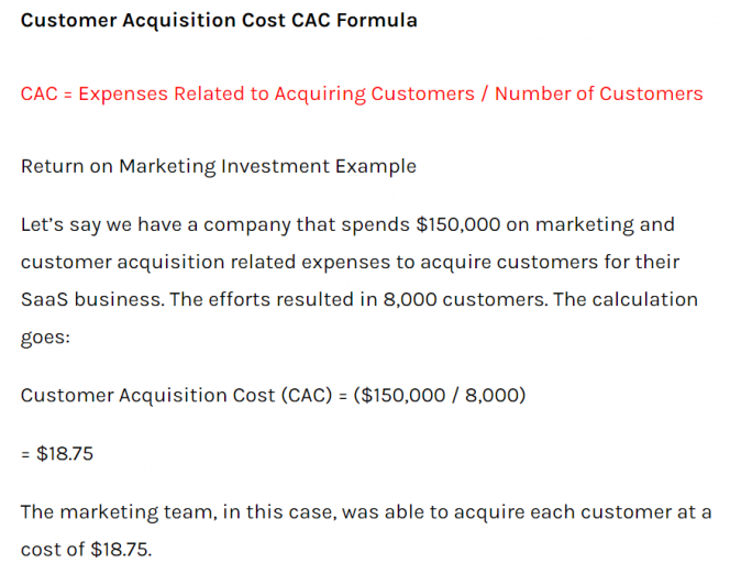Customer acquisition cost KPI
