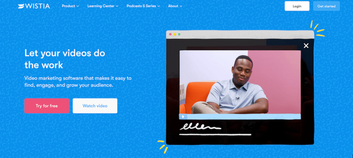 Wistia's brand video seen on their homepage as part of their video strategies