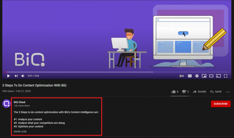 How a description should be optimized on Youtube