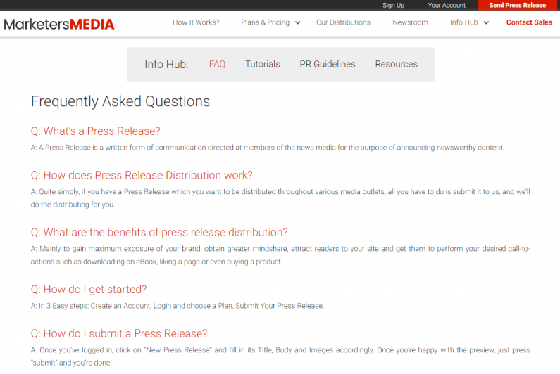 An individual FAQ page on MarketersMEDIA
