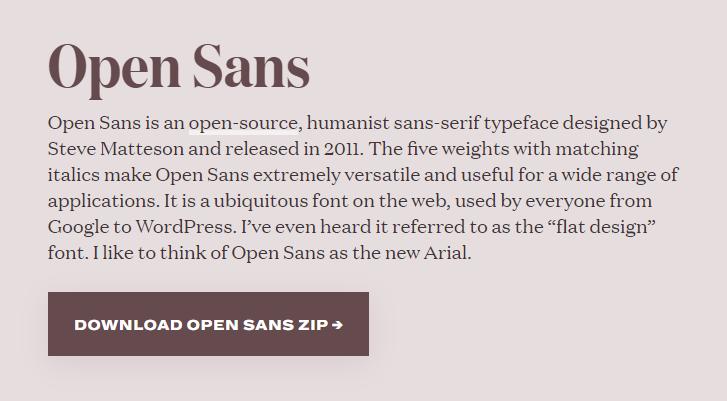 Best fonts for website - Open sans