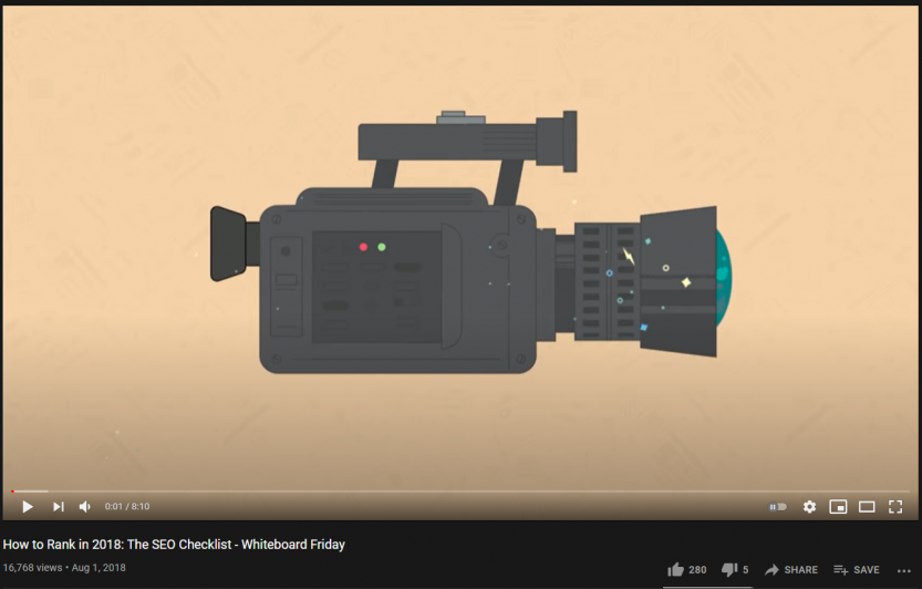 Video transcription example from Moz , showing the features of video seo