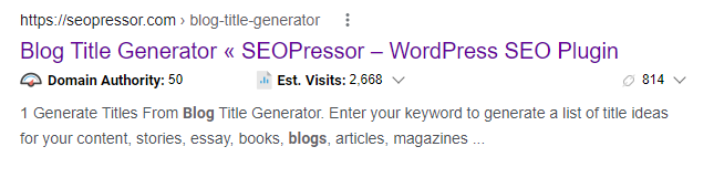 Title and meta description example found on SERP