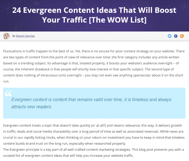 Description: 24 Evergreen Content Ideas That Will Boost Your Traffic [The WOW List]