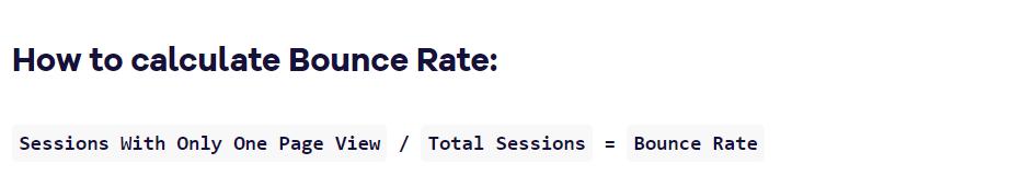 Bounce rate KPI