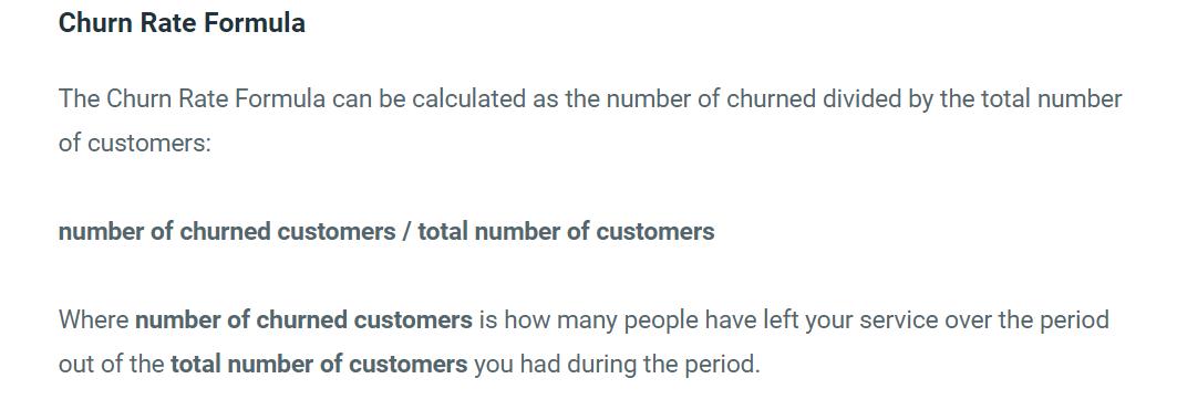screenshot of Customer churn rate key metrics