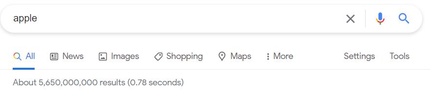 Google index example