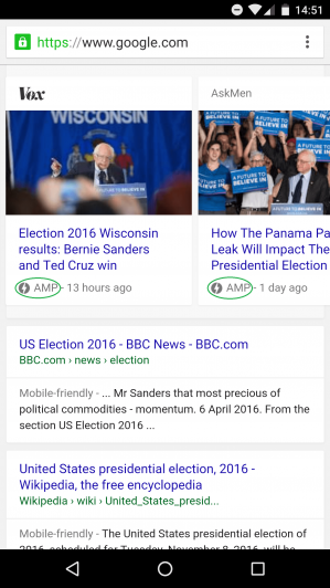 Example of sites with Google AMP implementation