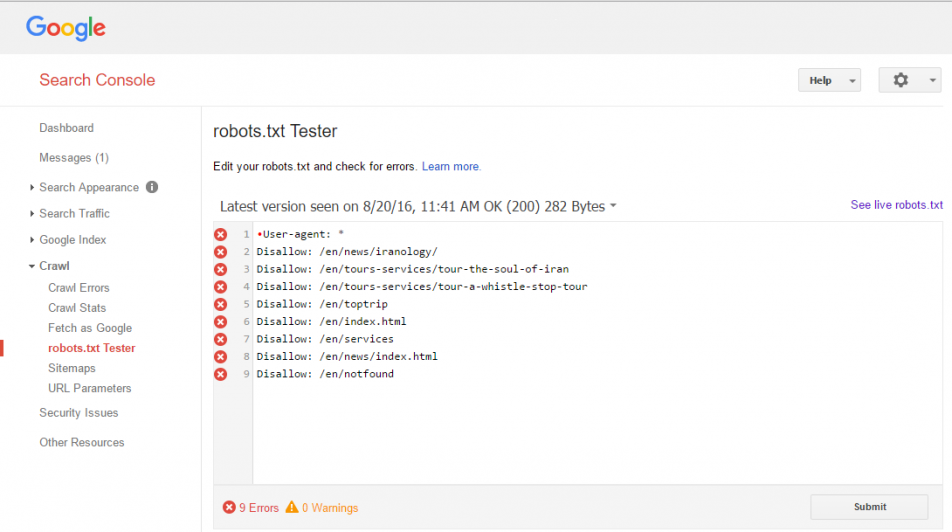 Why Google robots.txt Tester has error and it's not valid - Stack Overflow