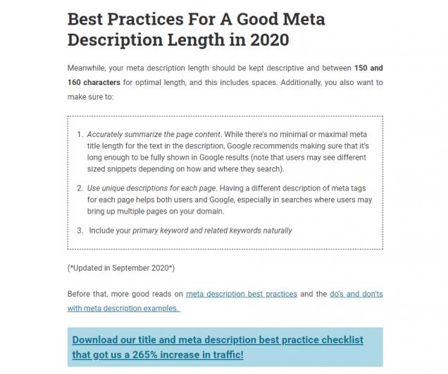 "A screenshot of SEOPressor's Blog titled ""Google's Title and Meta Description Length"""