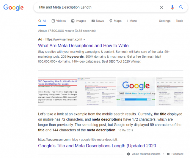 """SEOPressor's blog """"Google's Title and Meta Description Length"""" gets a featured snippet on Google"""