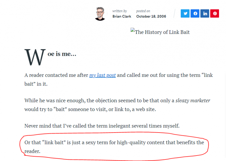 link bait is a term for high-quality content that benefits the reader