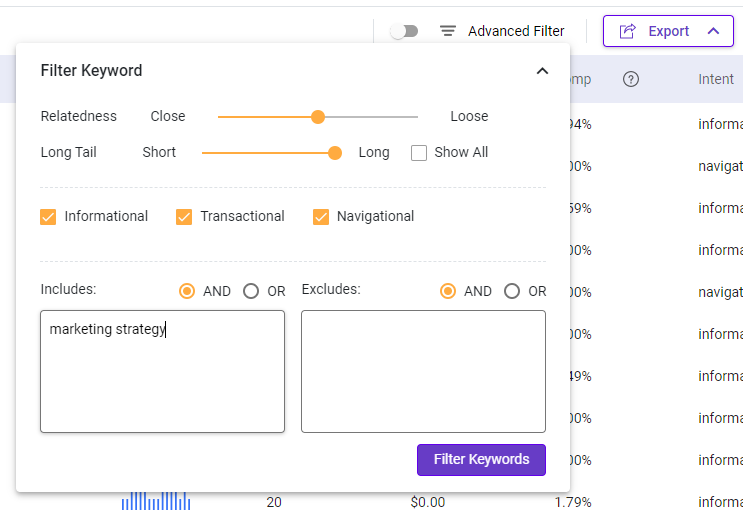 Advanced filter for better keyword research