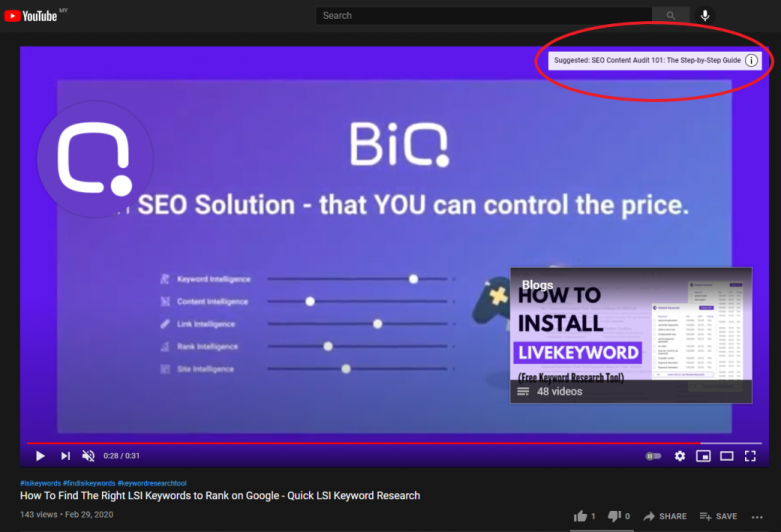 Info card as seen on the top right of a Youtube video