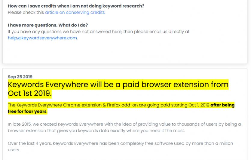 Keywords Everywhere is no longer free