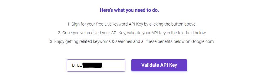 How To Install LiveKeyword - Validate API key