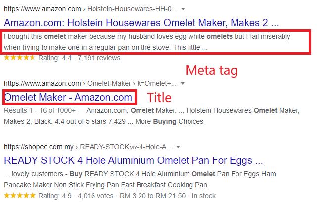 title and meta description in Google serp