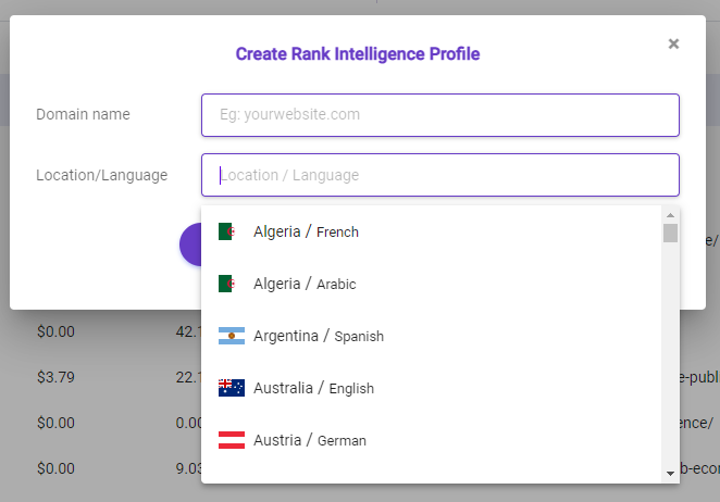 Users are able to select from a location or language that they prefer