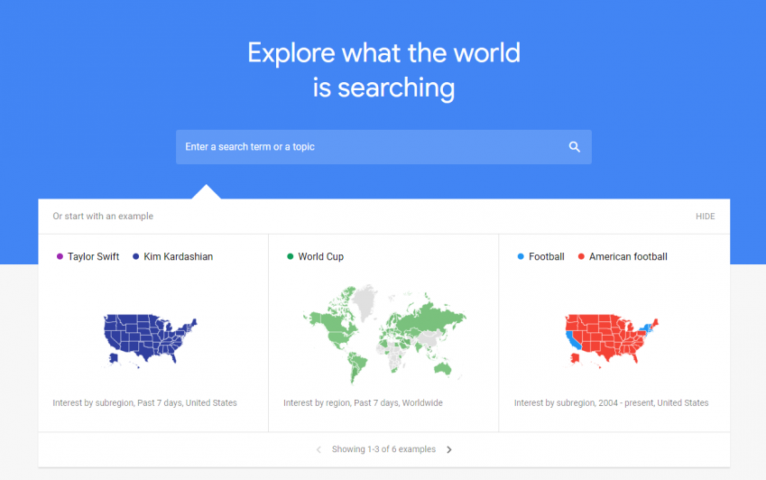 Google Trends lets you know the latest trending keywords depending on the niche you're targeting