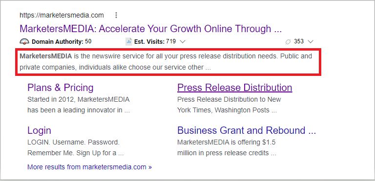 get ranked on google with meta description