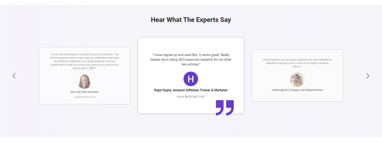 """Testimonials and """"hear what the experts say"""" are important proofs in generating sales and marketing leads"""