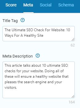 Example of meta description SEO checks for the right length.