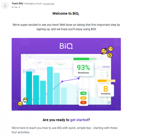 email marketing examples: welcome email