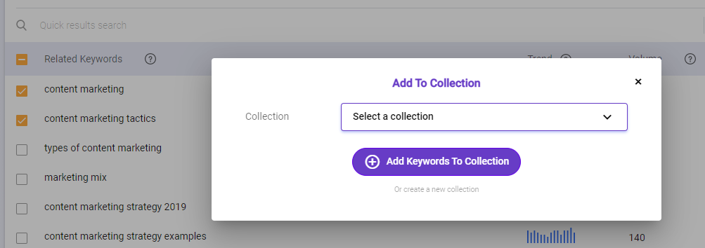 Add keywords to Collection