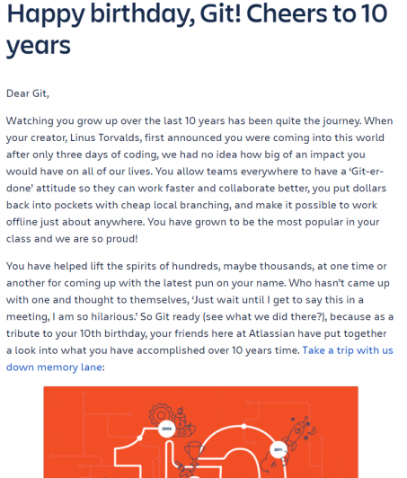 Blog post example on telling your brand's birthday