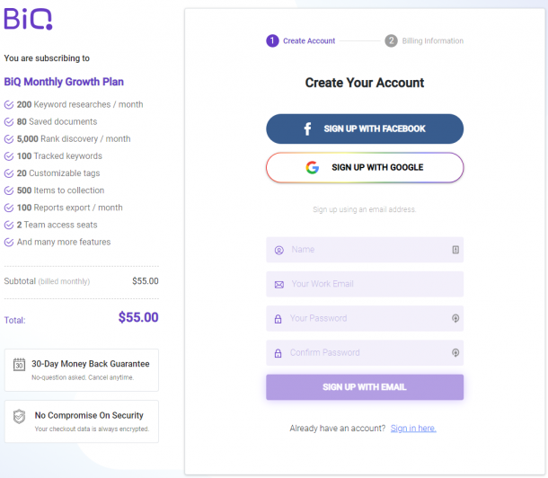 BiQ simple checkout page as part of e-commerce marketing strategies