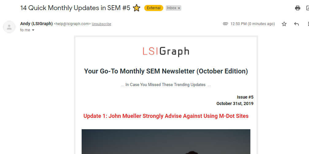 Places to publish articles include email newsletters. Example from LSIGraph