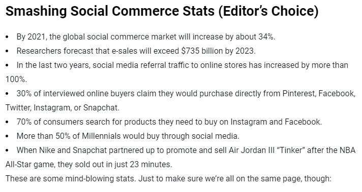 content marketing trends : social commerce