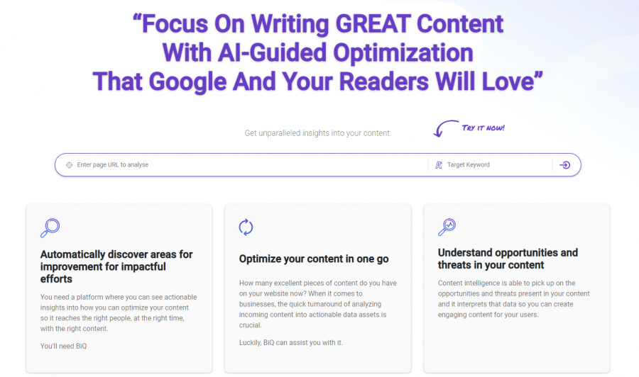 Optimize your content with BiQ Content Intelligence for better traffic generation post publishing.