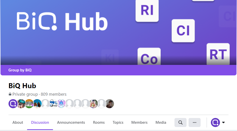 BiQ Hub on facebook. Creating a facebook group is a way to generate traffic too