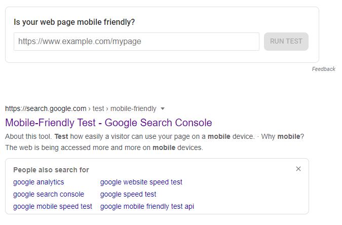 Google mobile friendly test tool