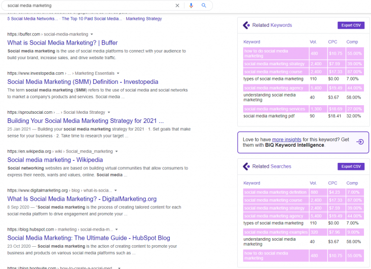 extension for chrome to generate the keyword overview and get essential keyword metrics