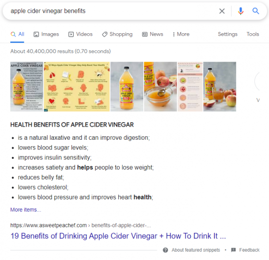 Google Snippet Example: Bullet list snippets