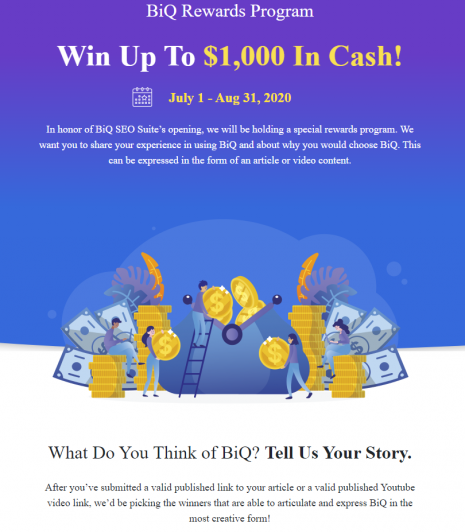 BiQ Rewards Program Online Contests