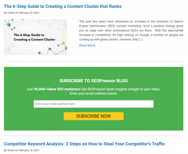 Blogging Mistakes 6 - Show Your Audience the Next Step like SEOPressor
