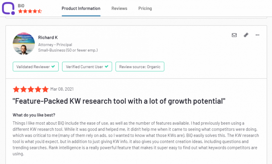Leaving a legit and valid review is what you should look for when searching for a good SEO company. Example taken from BiQ G2 review site.