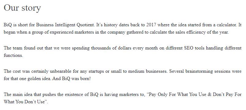 BiQ product marketing was designed to meet customers' needs