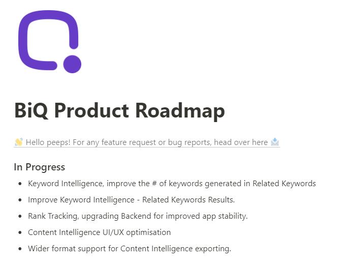 BiQ's product launch roadmap