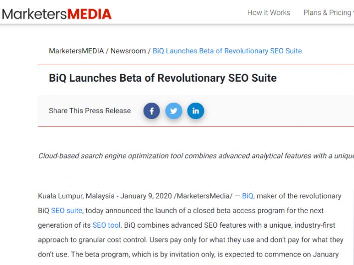 BiQ's product marketing launch via press release