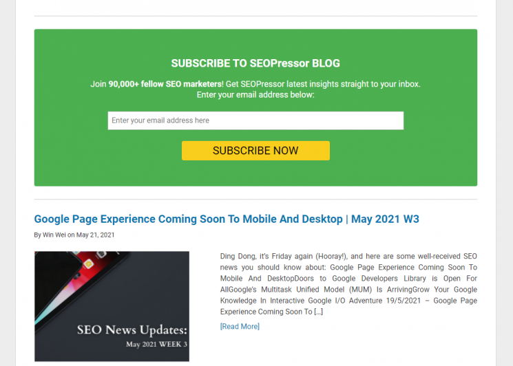 SEOPressor's newsletter sign up fold as part of their lead generation hacks.