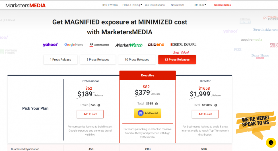 MarketersMEDIA live chat feature