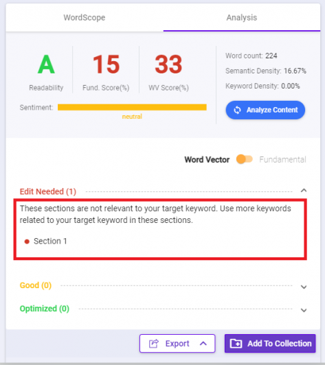 BiQ's SEO writing assistant has word vector feature that suggests which section of your writing needs to be edited, is good, or already optimized.